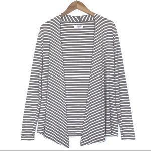 Mott50 Brown & White Stripe UPF 50 Open Cardigan